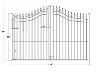 The Apollo 10' Wide- 4′ to 5′ Single Driveway Gate