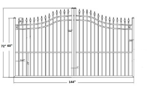 The Apollo 12' Wide- 5′ to 6′ Single Driveway Gate