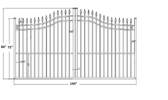 The Apollo 12' Wide- 6′ to 7′ Single Driveway Gate