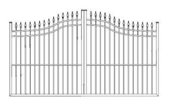 Guardian Spear Point Wrought Iron Single Driveway Gates