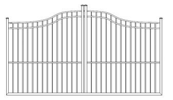Olympian Smooth Top Wrought Iron Single Driveway Gates