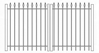 48 Inch High RPF103 Commercial Wrought Iron Double Gate