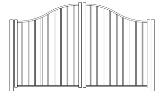 48 Inch High Solon Residential Bell Curve Arched Double Gate-Pool