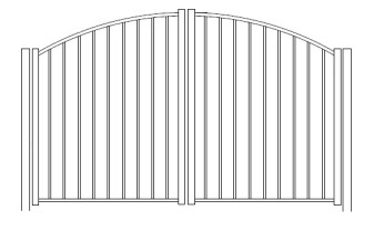 48 Inch High Solon Residential Rainbow Arched Double Gate-Pool