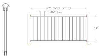 "34""H x 72""W Bellaire Aluminum Deck Railing"