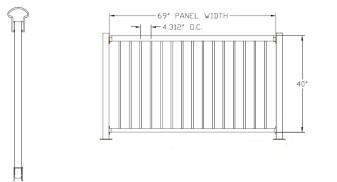 "40""H x 72""W Bellaire Aluminum Deck Railing"