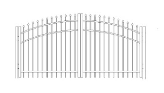 48 inch Bennington Residential Greenwich Arched Double Gate