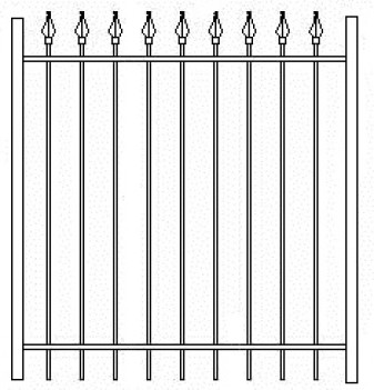 48 Inch High RPF103 Commercial Wrought Iron Gate
