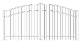 84 Inch Saybrook Commercial Greenwich Arched Double Gate