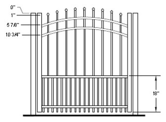 36 Inch Aurora Residential Puppy Picket Aluminum Fence