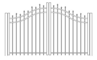 48 Inch Hiram Residential Bell Curve Arched Double Gate