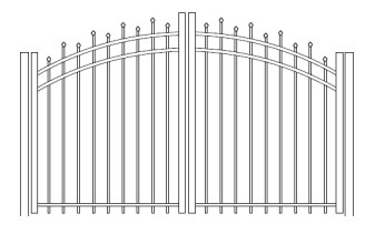48 Inch Hiram Residential Rainbow Arched Double Gate