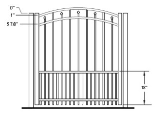 48 Inch Windham Residential Puppy-Picket Arched Gate