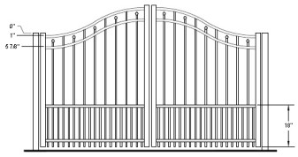 48 Inch Windham Residential Puppy-Picket Bell Curve Arched Double Gate