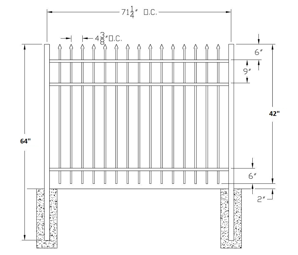 picket fence drawing. 42 Inch Bennington Commercial Aluminum Fence Picket Drawing