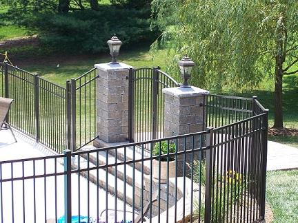 beautiful angled aluminum fence
