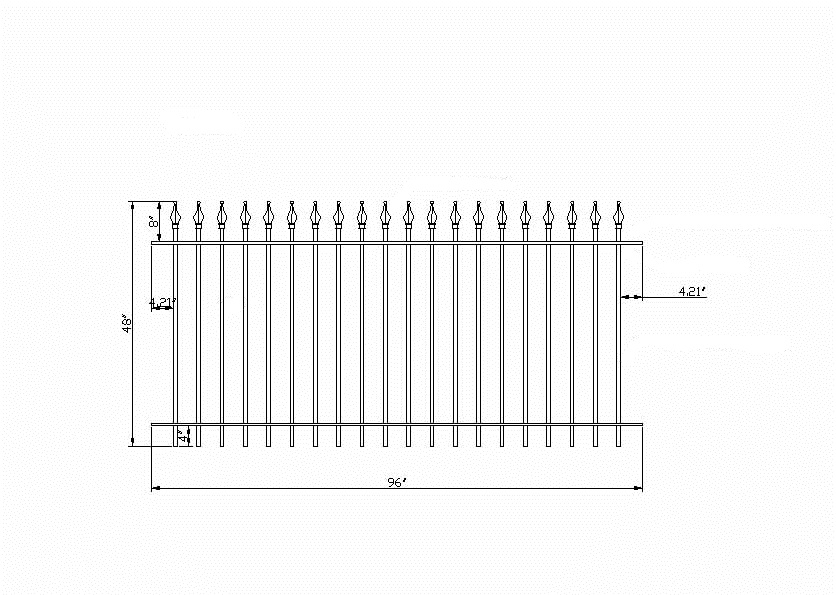 Commercial grade wrought iron fence