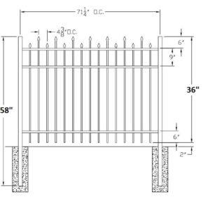 36 Inch High Berkshire Residential Aluminum Fence
