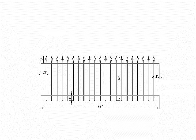 Residential wrought iron fence panels for back yards