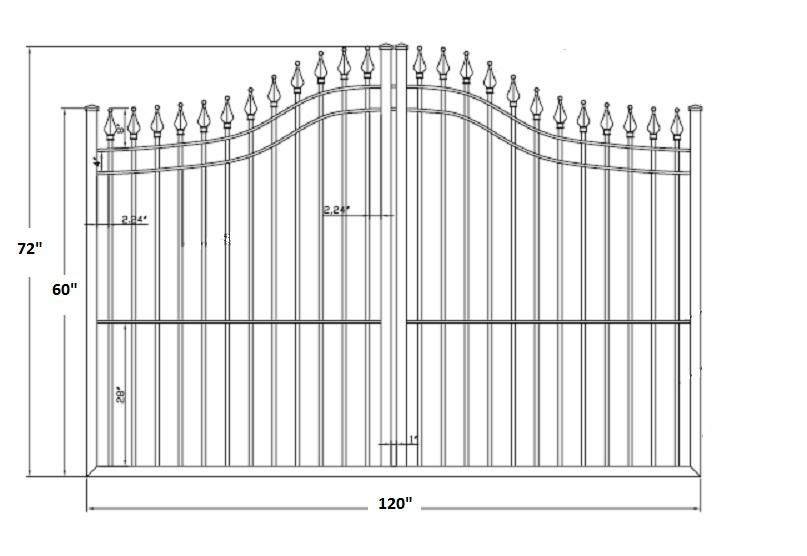 Apollo Spear Point Aluminum Single Driveway Gates
