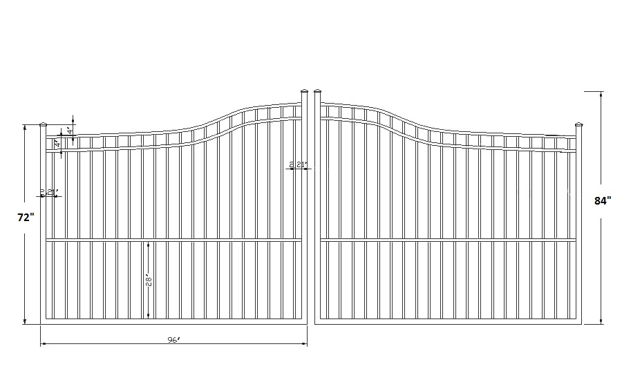 Athena smooth top aluminum double driveway gates