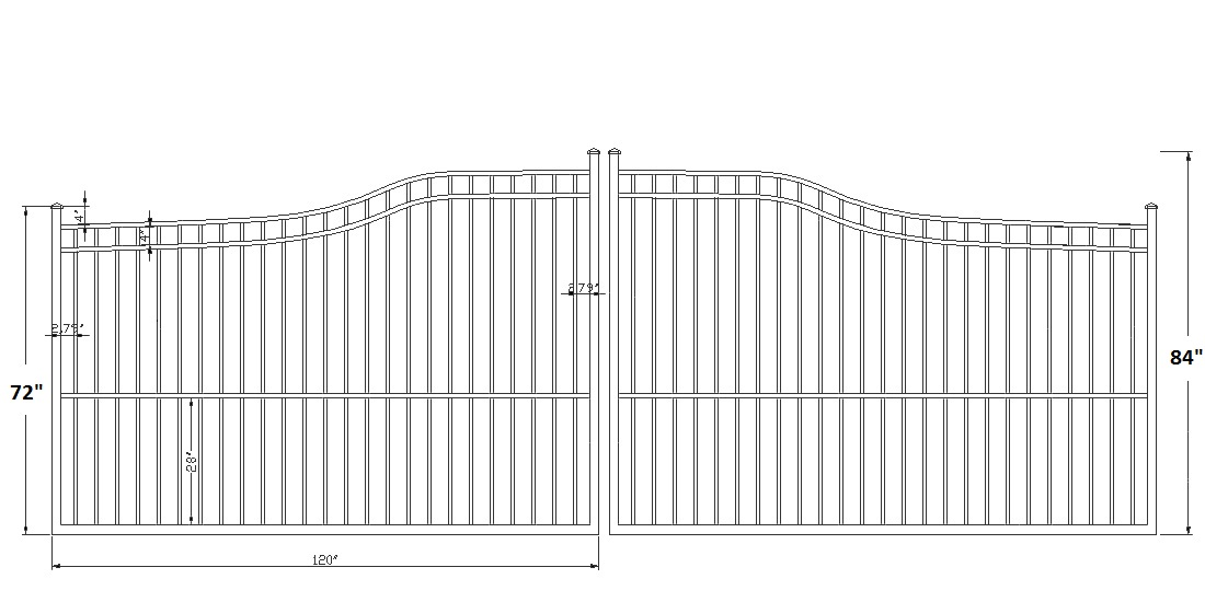 Athena Aluminum Double Driveway Gates on Property Line Privacy Fence