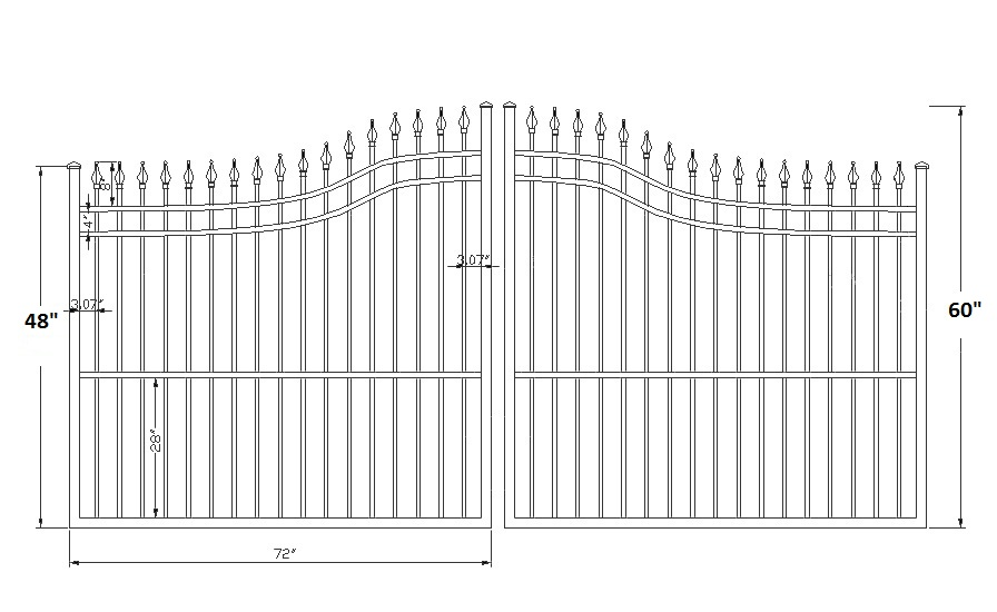 Guardian Spear Point Wrought Iron Double Driveway Gates
