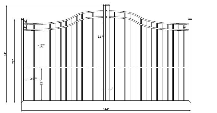 Athena Smooth Top Aluminum Single Driveway Gates