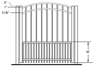 42 Inch Auburn Residential Puppy Picket Aluminum Fence